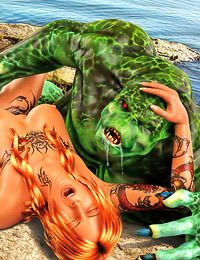 Inked redhead bitch enjoys pleasuring merman's hideous, thick shaft.