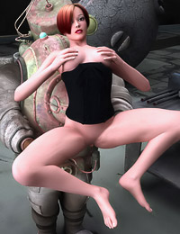 Horny Redhead Chick Fucks Her Obedient Robot
