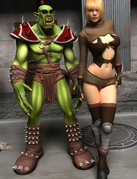 Green goblin with gorgeous blonde warrior girl