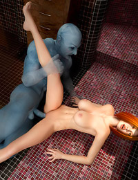Blue glowing fuck stick for gorgeous Angelina in a huge tub