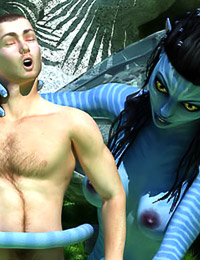 Lucky male sub gets femdom action from a gorgeous Na'vi