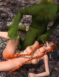 Green half-reptile slides his slimy cock into a pretty redhead