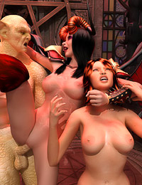 Filthy girl serves a mad demon and a femdom-crazed bitch