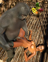 Smooth-skinned jungle explorer banged by a monkey man