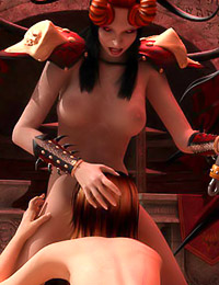 A demon and a femdom mistress use a sexy female servant