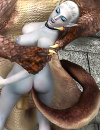 Elven witch uses a spellbound dragon for hot fucking