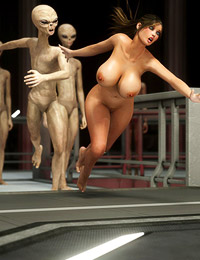 Tall white aliens are banging a slutty 3D girl in her small holes