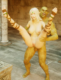 Sweet elven princess is having hardcore sex with an orc