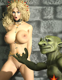 Awesome blonde-elf fucked and humiliated without mercy by two ugly mutants and swallow warm jizz