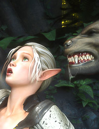 Nasty werewolves are going to wildly fuck a teen sexy blonde elf babe