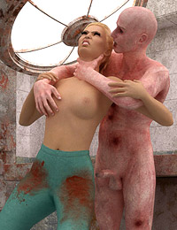 Zombie cock for the wet pussy of a trapped female doctor