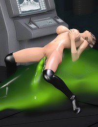 Divine hot bitch enjoys ooze monster fucking her hard and wild in her tight pussy and ass