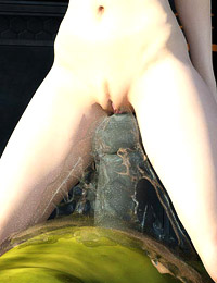 Tiny sexy butterfly elf girl is doing hot blowjob to nasty 3d giant monster in the woods