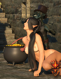 Leggy elf-girl with hot teats gets anal penetration by ogre