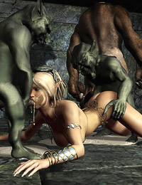 Hot fantasy babes drilled hard and wild by vicious creatures and spewed with hot jizz in their fucking holes