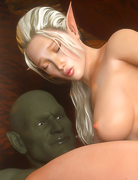 Beautiful and tender 3d elf girl is riding huge green ogre's hard dick with her cunt