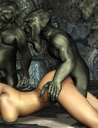 Cute sexy elfins enjoy hardcore sex and seduce hot foul monsters to treat their twats with cocks
