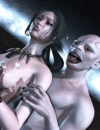 Extreme vampire threesome � hot creatures fuck a cute elfin bitch and feed her with jizz