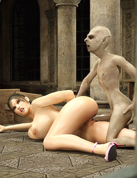 Exciting hot pussy and mouth fuck of a human beauty with a huge monster cock of a vampire