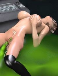 Sexy booby whore enjoys her fucking holes pounded and loaded with jizz of an ooze green monster