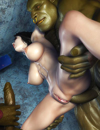 Wild giant is holding cute chick up with wide spread legs and fucking her holes with other ogre