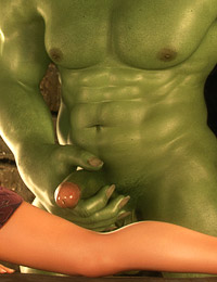 Muscled 3D monster shoves his giant pipe in a tight wet snatch