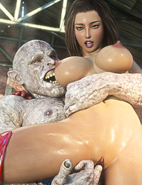 Perfect-looking hottie fucked insanely hard by two dirty 3D monsters
