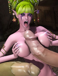 Muscled 3D beast unloads a giant dosage of jizz on the huge round boobs