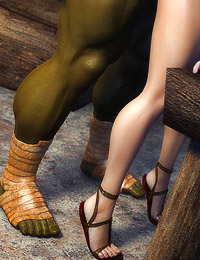 Wonderful and fascinating brunette temptress is drilled by two disgusting green ogres