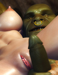 Incredible double penetration for buxom bombshell by two savage subterranean beasts