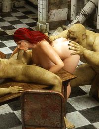 Awesome redhead slut is penetrated by a couple of orcs