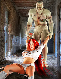 Stripping her clothes off, the Frankenstein's monster then sticks his horrendous cock in her wet twat.