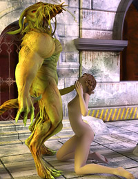Jumped by a horny lizard demon in the ancient ruins, sexy redhead gets a taste of his monster cum.