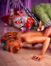Jumping from underneath the bed, a frigthening clown just wants for her to have a taste of his cum.