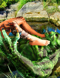 Having lured another silly human to the lake the Green Demon raises from the deep to deprave her