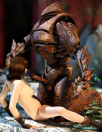 Gripping alien foul pecker with her hand, the lusty bitch tugged on it hard.
